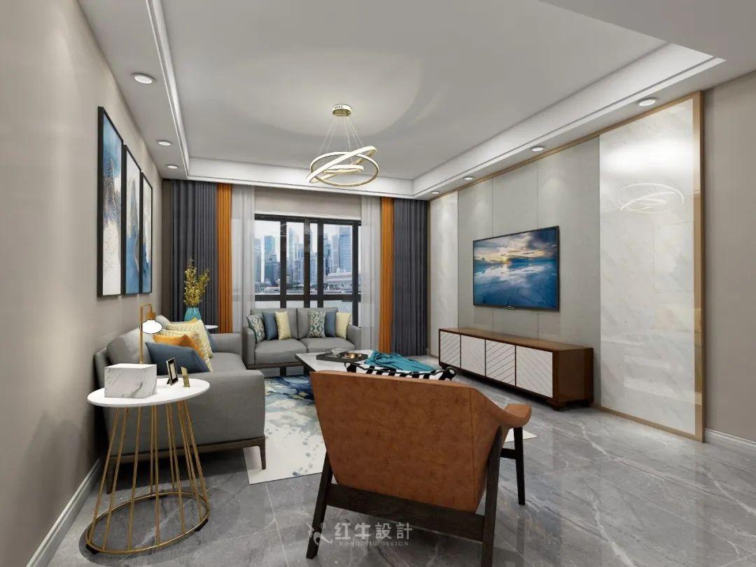 熊皓宇_同曦国际广场140㎡轻奢风格--改善性住房应该这样设计04客厅设计_客厅电视背景角度