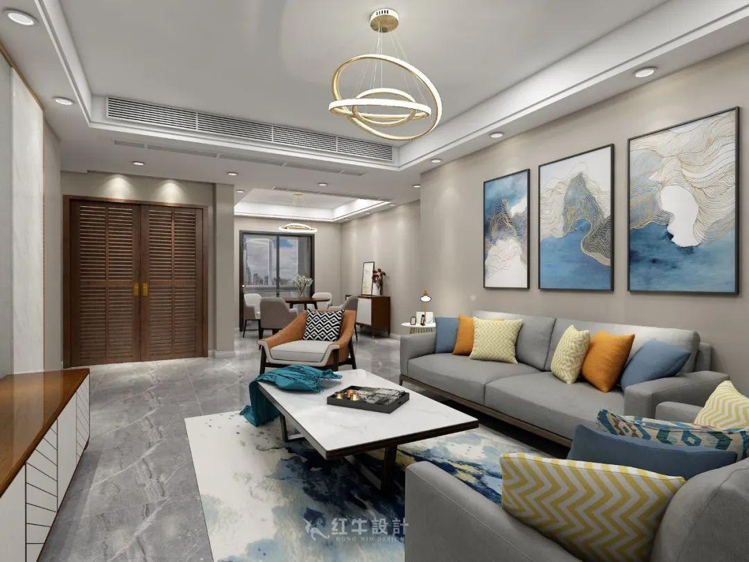熊皓宇_同曦国际广场140㎡轻奢风格--改善性住房应该这样设计05客厅设计_客餐厅