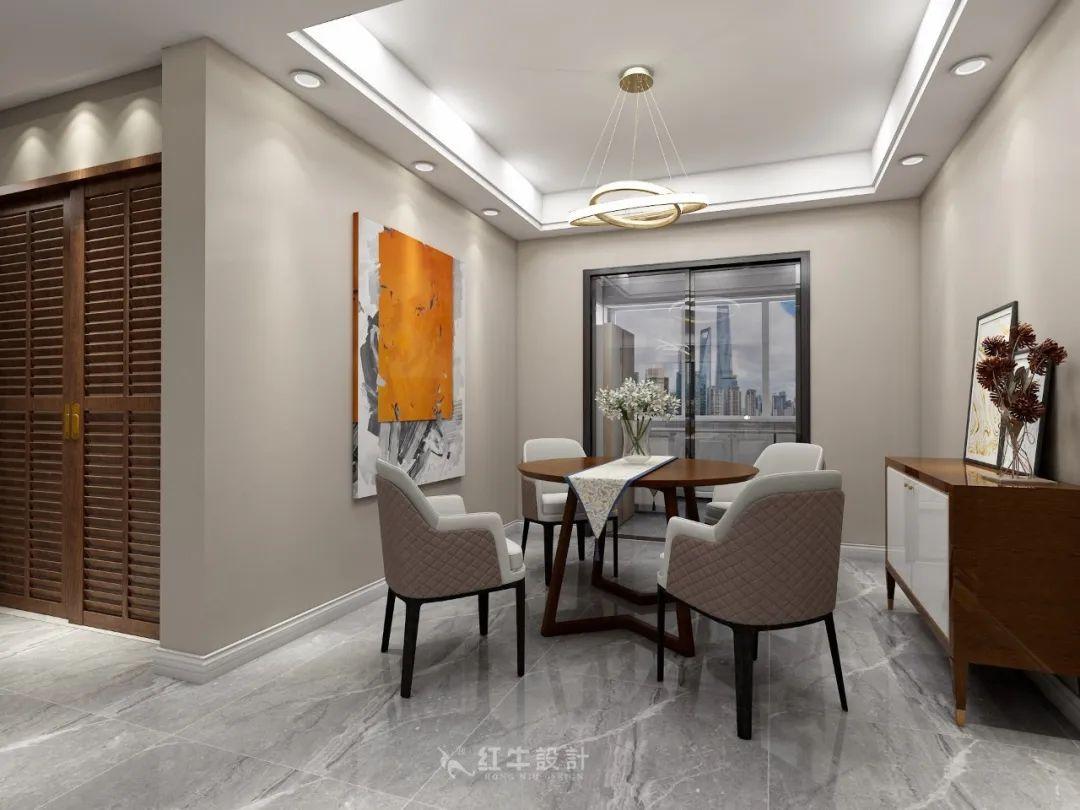 熊皓宇_同曦国际广场140㎡轻奢风格--改善性住房应该这样设计07餐厅设计_餐厅